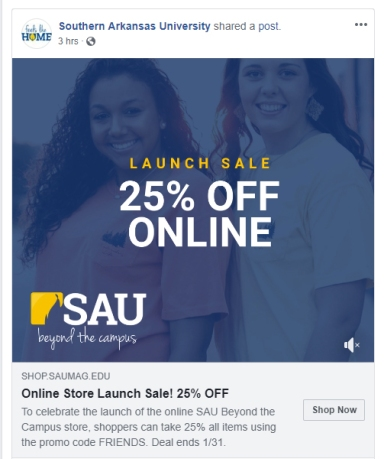 sau online store 25% off feature