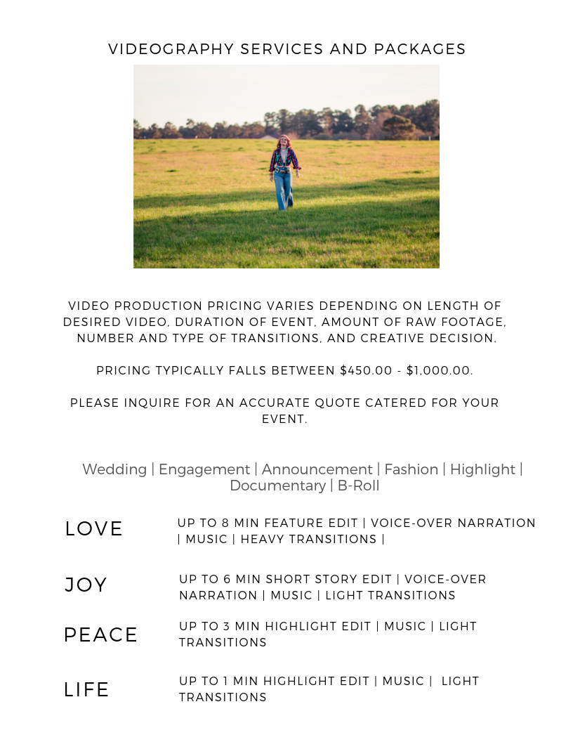 Videography Package Pricing