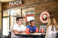 Students in Panda Express University Hall Picnic Table143A9567_web